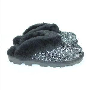 UGG COQUETTE FRILL BLACK TWEED SHEEPSKIN SLIPPERS